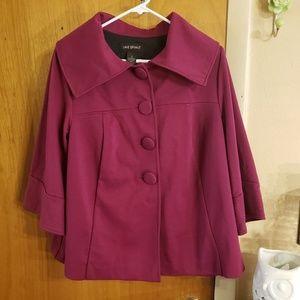 Lane bryant dark pink 3/4 sleeve short pea coat
